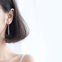 925 silberne ohrreifen großhandel-925 Sterling Silber Creolen für Frauen Kreis Lange Kette Quaste Ohrring Mode Weibliche Fransen Asymmetrische Ohrschmuck