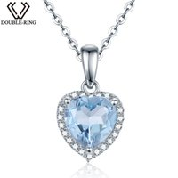 Wholesale double locket necklace resale online - DOUBLE R ct Natural Heart Blue Topaz Pendants Women Sterling Silver Pendant necklaces Gift Brand Jewelry CAP00649E