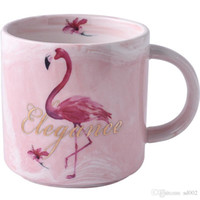 Wholesale lovers mug gifts resale online - Flamingo Ceramics Mug Marbling High Capacity Coffee Cup Lovers Water Tumbler Office Originality Valentines Day Gifts Pink mdb1