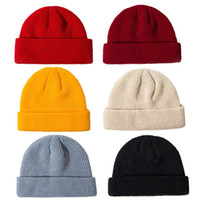 30e4d5821a9 Unisex Winter Ribbed Knitted Cuffed Short Melon Cap Solid Color Skullcap  Baggy Retro Ski Fisherman Docker Beanie Hat Slouchy