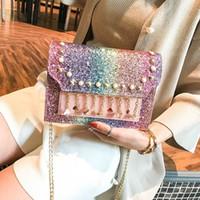 бисер кошелек оптовых-Роскошные дизайнерские сумки через плечо Модные сумки на ремне с блестками Заклепочные бусы Роскошные сумки с золотыми цепочками Сумки через плечо