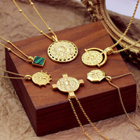 collier de style asiatique achat en gros de-Nouveau Cuivre Pièce De Monnaie Collier Européen Et Américain Style Asiatique Clavicule Pièce De Monnaie Chaîne J190531
