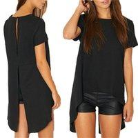 koreanische kleidung locker großhandel-Sommer Stil Split Rundhals Bluse Loose Shirt Korean Style Damen Tops Bekleidung