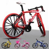 modelo de bicicletas de juguete al por mayor-Diecast modelo de juguete de bicicletas, plegable bicicleta de montaña, bicicleta de carreras por carretera, City Girl Bicicleta rosa claro, ornamento, Navidad Kid Regalo de cumpleaños, Recogida
