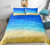 ozean bettwäsche gesetzt königin großhandel-Beach Ocean Bettbezug Set 3D Bettbezug Set Kids Teen Bettwäsche Queen Single Heimtextilien Bettwäsche King Size 3tlg