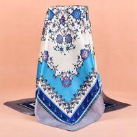 Wholesale bandana polka resale online - Rayon Silk Scarf Fashion Foulard Satin Shawl Scarfs Big Size cm Square silk Hair Head Scarves Women bandana