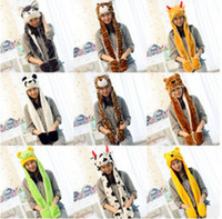 Wholesale women plush costume for sale - Group buy Cartoon hats scarfs plush Scarves Hat Sets Women Costume cute hats With Long Scarf Gloves Earmuffs warm hat Party Hats ZZA1533