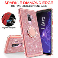 Wholesale apple diamond ring resale online - Soft TPU Bling diamond Cases for iPhone XS Max XR s Plus Plus Case Rotating Finger Ring Cover For Samsung s8 s9 s10 note