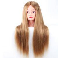 manequins de estilo venda por atacado-Cabeças Professional Manequins Styling cabeça longa peruca de cabelo para cabeleireiros Formação Chefe Fiber Mannequin Cabeça de exibição