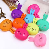 Wholesale cute rabbit wallet resale online - Silicone Rabbit Coin Purse Colors Cute Cartoon Easter Girls Small Wallet Mini Animal Pouch Bag Party Favor OOA7611