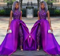 perlen für anzüge großhandel-2020 Klassische Prom Overalls Kleider Mit Abnehmbarem Zug High Neck Spitze Applizierte Perlen Abendkleider Luxus Afrikanische Partei Frauen Hosenanzüge