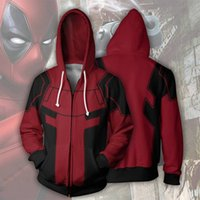 костюм xxxl deadpool оптовых-Marvel Series Deadpool 3D принт Косплей Костюм Толстовки Мужчины Толстовка с капюшоном Куртка с супергероем на молнии Свободные и удобные