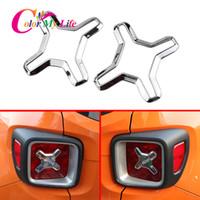 luzes traseiras jeep venda por atacado-ABS Chrome Car Traseiro Luzes Da Cauda Tampa Da Lâmpada Guarda Decoração Lado Adesivo Quadro Apto para Jeep Renegade 2015-2018 acessórios