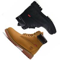 коричневые кожаные ботинки для мужчин оптовых-Timberland Кожаная Обувь Бег Дизайнерская Спортивная Оптовая Спортивная Обувь Кроссовки для Мужчин Женщин Кроссовки Коричневые Ботильоны С Коробкой