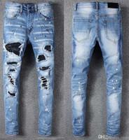 96ce6c9b Wholesale amiri jeans for sale - Group buy ami Europe America high street  trend hole locomotive