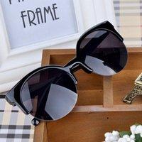 kadın s yuvarlak güneş gözlüğü toptan satış-PERDE 2019 Yeni Moda Retro Tasarımcı Süper Yuvarlak Daire Gözlük Kedi Göz kadın Güneş Gözlüğü Gözlük Gog ulculos De Sol Feminino