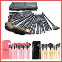 rosa holz preis großhandel-Neupreis Professionelle 24 stücke Make-Up Pinsel Sets Make-Up Werkzeuge Schwarz Rosa Holz Make-Up Pinsel Kit + Beutel Tasche mit LOGO wahl
