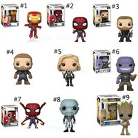 Wholesale marvel models online – design 14 Style Funko POP Marvel Avengers toys New Anime movie Iron Man Thanos Thor Spiderman Captain America Groot PVC dolls Gifts toys B