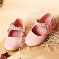 Wholesale dress shoes soft soles resale online - Children Princess Shoes Pink Black White Band Soft Sole PU Leather Fashion Bowknot Rhinestone Flower Girls Dress Dance Shoes