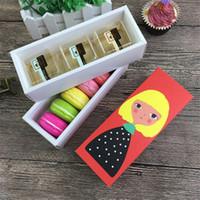 paquete para macaron al por mayor-Chriatmas hueco Macaron caja de la magdalena de contenedores de embalaje Valentine Hornear paquete de papel de embalaje Macaron Cake Cajas 17.5 * 5 * 6 cm de chocolate