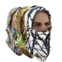 ingrosso cappello copre la faccia-4 Colori Fleece Camo Collo Face Copertina Balaclava Cappello Freddo Caccia Sci Face Mask Cappelli Esterni Cappelli Del Partito CCA10825 36 pz