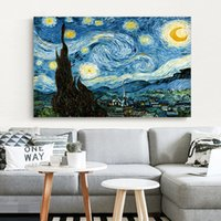 Wholesale artist home paintings resale online - Elegant Poetry Starry Night by Vincent Van Gogh Famous Artist Art Print Poster Wall Picture Canvas Oil Painting Home Wall Decor