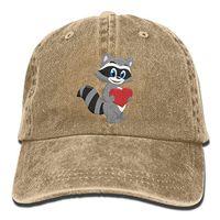 Wholesale raccoon animal for sale - 2019 New Custom Baseball Caps Print Hat Raccoon Heart Mens Cotton Adjustable Washed Twill Baseball Cap Hat