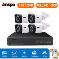 güvenlik hdd toptan satış-Anspo 4CH 1080 P CCTV Güvenlik Kamera Sistemi 5 in 1 DVR IR-cut Ev Gözetim Su Geçirmez Açık Beyaz Renk