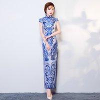 vestido de casamento qipao branco venda por atacado-Mulheres Branco Azul Casamento Longo Partido Cheongsam Oriental Vestido de Noite Chinês Traditionall Elegante Qipao Sexy Retro Robe Vestido