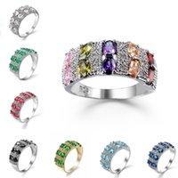 ingrosso raccordo in pietra di gemma-Nuovo anello di moda per le donne Anello di nozze in zirconi placcato oro Gioielli in argento gemma platino con anelli di nozze laterali in pietra