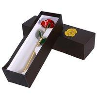 pacote aleatório venda por atacado-Presente do dia dos namorados 24k Flor Rose banhado a ouro com presente caixa de embalagem do presente do aniversário Box Para o Dia das Mães aniversário pela Random