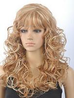 ingrosso scuri biondi scuri biondi-LL +++ 1214 + Fashion Dark Blonde Mix parrucca riccia lunga parrucca con frangette