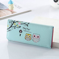 Wholesale owl leather bag for sale - Group buy 1PC Cartoon Owl Printed Wallet Women PU Leather Long Two Fold Wallet Money Purse Holder Storage Purse Bag New