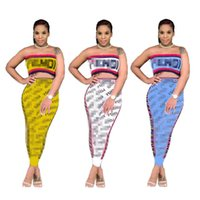 kadın tüpleri toptan satış-F Mektup Baskı Kadın Eşofman Şerit Tüp Üst Pantolon Eşleşen Setleri 2019 Kırpma Üst Stripless Sutyen Moda 2 Parça Kıyafetler Koşu C421 Suits