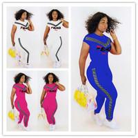 Wholesale designer jogging pants online - Double F Letter Tracksuit Women Summer Short Sleeve T shirt pants Outfit Piece Jogging Set Sportswear Club Casual Wears designer A43002