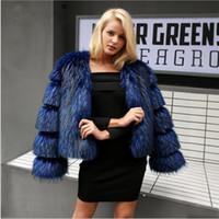 mavi kürk toptan satış-Kabarık Faux Kürk ceket yeni Faux Kürk kadın zarif moda mizaç uzun kollu siyah / mavi moda Kış Coat Kadınlar