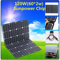 diy solarzellen-ladegerät großhandel-120W tragbarer Sonnenkollektor, faltbares 18V-Solarladegerät 2 x 60W Solarpanel