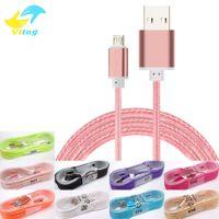 головные косы оптовых-1.5M длинный прочный плетеный USB-кабель для зарядки для типа с Samsung s7 s8 плюс HTC Sony LG Micro USB провод с металлической головкой USB