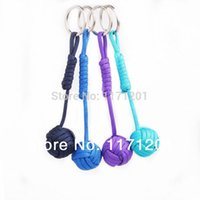 Wholesale paracord lanyard for sale - Group buy Key Lanyard Paracord Monkey Fist Keychain Wooden inside