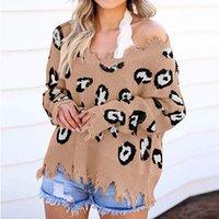suéter de manga larga arranca al por mayor-V del cuello atractivo apenada Jersey de punto Jumper otoño invierno leopardo de las mujeres de impresión rasgada de manga larga suéter Tops mujer