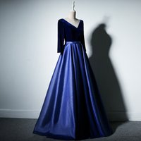 Wholesale hot evening gowns satin resale online - Hot Elegant Royal Blue Evening Dresses Long Sleeve Appliques Lace Evening Gowns Floor Length Prom Dresses special occasion party gowns