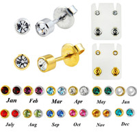 хирургическое пирсинг уха оптовых-Showlove-1Pairs 316L Surgical Steel Silver & Gold Mixed Gem Ear Studs Earrings Ear Studs Piercing with Piercing Gun Body Jewelry