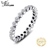 Wholesale cubic zirconia eternity rings resale online - JPalace Cubic Zirconia Ring Sterling Silver Rings for Women Stackable Ring Eternity Band Silver Jewelry Fine Jewelry