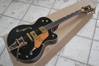 e-gitarre schwarzer tremolo großhandel-Factory Custom Shop Semi Hollow Body schwarz Gre tsch Falcon 6120 Jazz Ebony Griffbrett E-Gitarre mit Big sby Tremolo