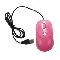 mini laptop laptop rosa venda por atacado-Optical Mini 3 botões USB Rato rosa para Laptop PC Computer