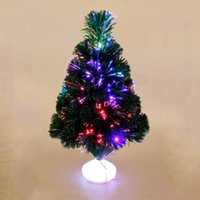 волоконная оптика рождественские елки оптовых-45cm Mini Christmas Tree LED Fiber Optics Artificial Christmas Tree For Home Decoration Festival New Year Xmas Home Ornaments