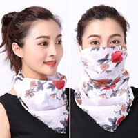 Wholesale blue scarf white polka dots for sale - Group buy Spring and summer sun mask female UV protection neck mask thin chiffon breathable veil scarf