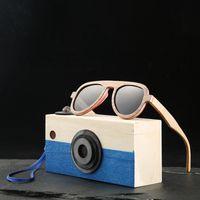 chica de gafas de madera al por mayor-Angcen Pilot Gafas de sol polarizadas para niños Gafas de sol Niños y niñas gafas de sol de madera vintage de bambú Con caja de vidrio de madera