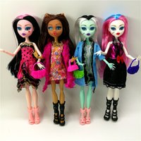 Wholesale 4 set Dolls New Style high dolls Monster fun high Moveable Joint Body Fashion dolls Girls Toys Best Gift