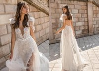 Wholesale mermaid princess wedding dresses images for sale - Group buy Muse by Berta Mermaid Wedding Dresses V Neck Backless Lace Bridal Gowns High Slit See Through Beach Trumpet Wedding Dress Custom